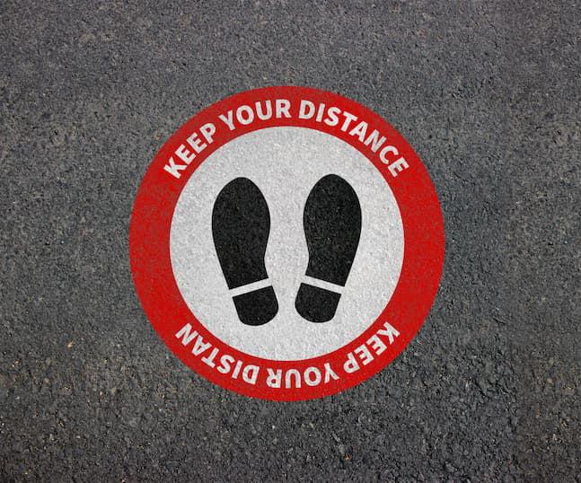 social distance floor graphic
