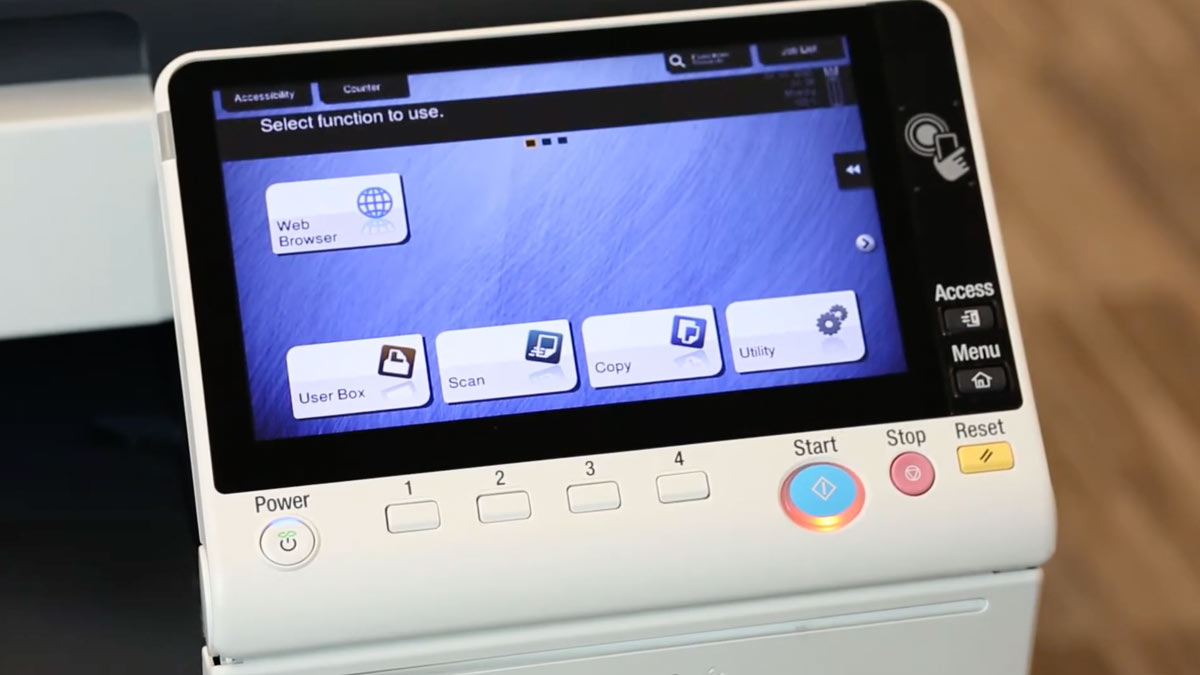 Konica printer screen