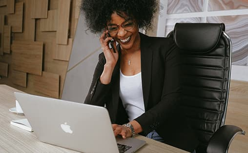 executive-working-safely-at-her-desk